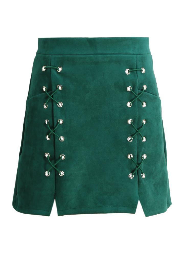 Otoño mujeres atan para arriba Gamuza Falda tubo mediados de cintura de la cremallera de Split ajustado de la falda corta Negro / Beige / Verde