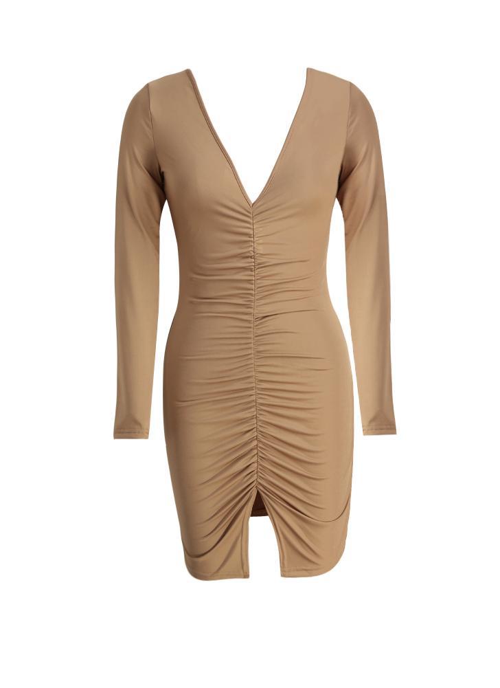 aa7504ea2d67 Neue Frauen-reizvolles Kleid mit Rüschen besetzt Split Hem tiefem V- Ausschnitt mit langen