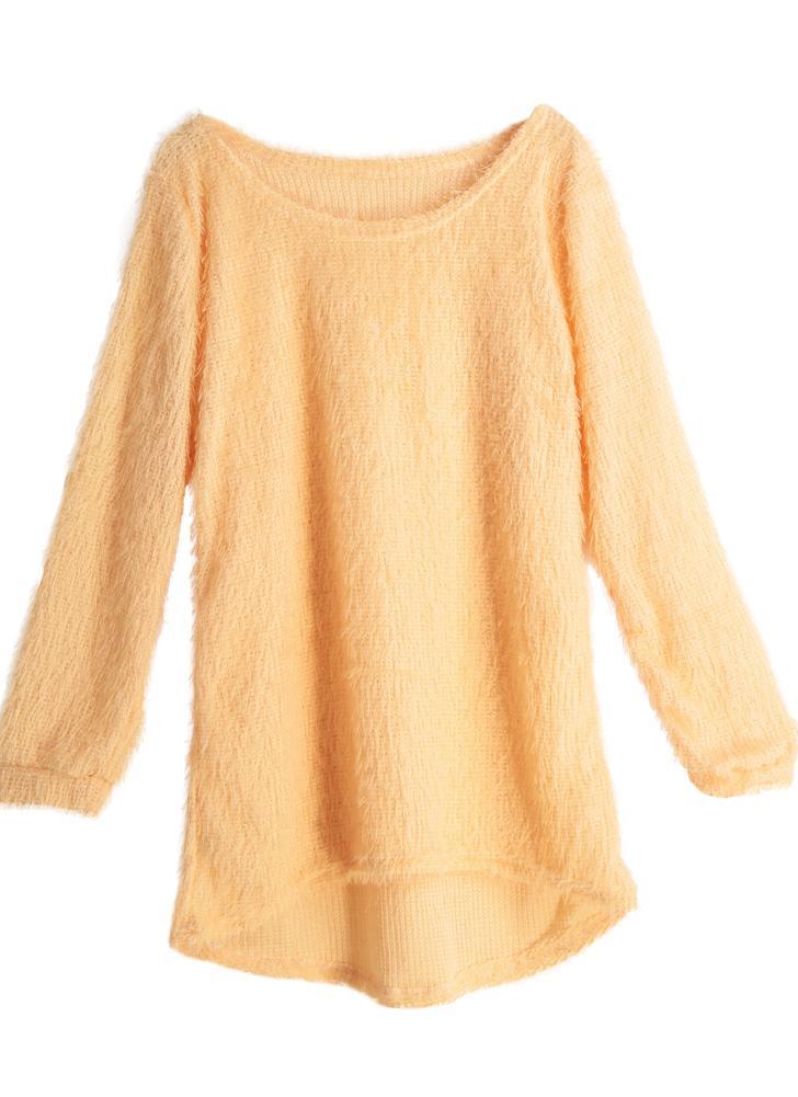 Fluffy Round Neck Dip Hem Long Sleeve Knitted Sweater