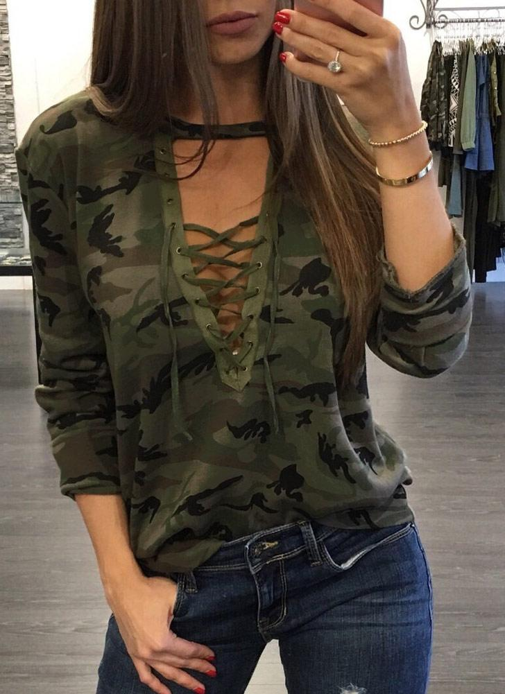 Camouflage Cross Lace Up Deep V Neck Long Sleeve T-Shirt