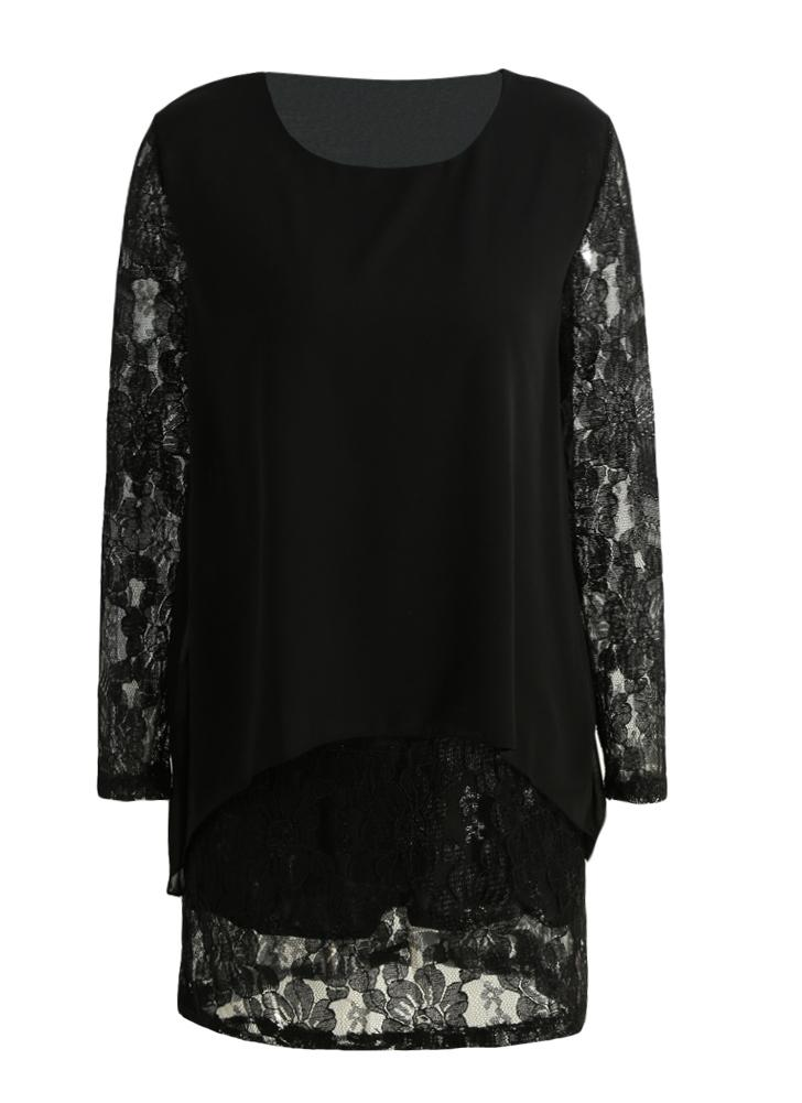 schwarz 4xl Neue Frauen-Mini Plus Größe Kleid Chiffon Spitze ...