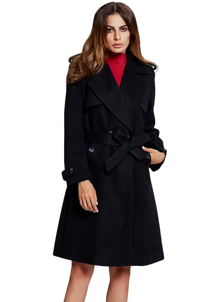 11038d0dd772a8 Le donne di lana del cappotto tasche cintura dentata collare maniche lunghe  caldo tuta sportiva lunga