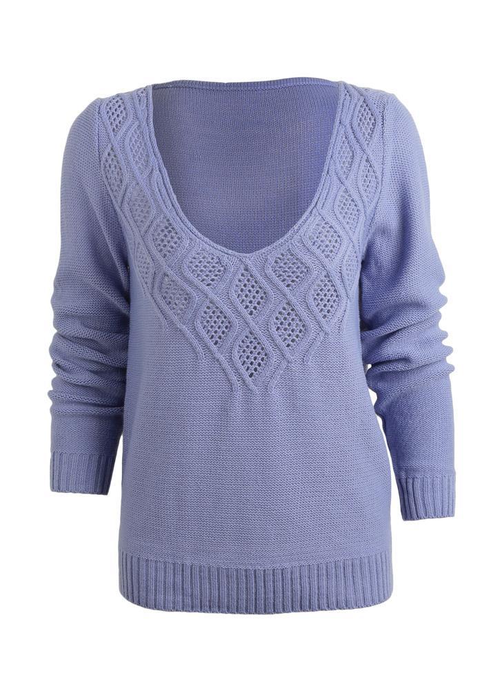 Las nuevas mujeres con cuello en V suéter de punto de corte de graves de la d316c7efe716