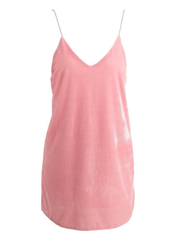 Neue Frauen-Samt-Spaghetti-Bügel-Kleid Tiefer V-Ausschnitt Backless Selbst-Riegel-Bügel Curve Hem Sexy Minikleid Rosa / Brown