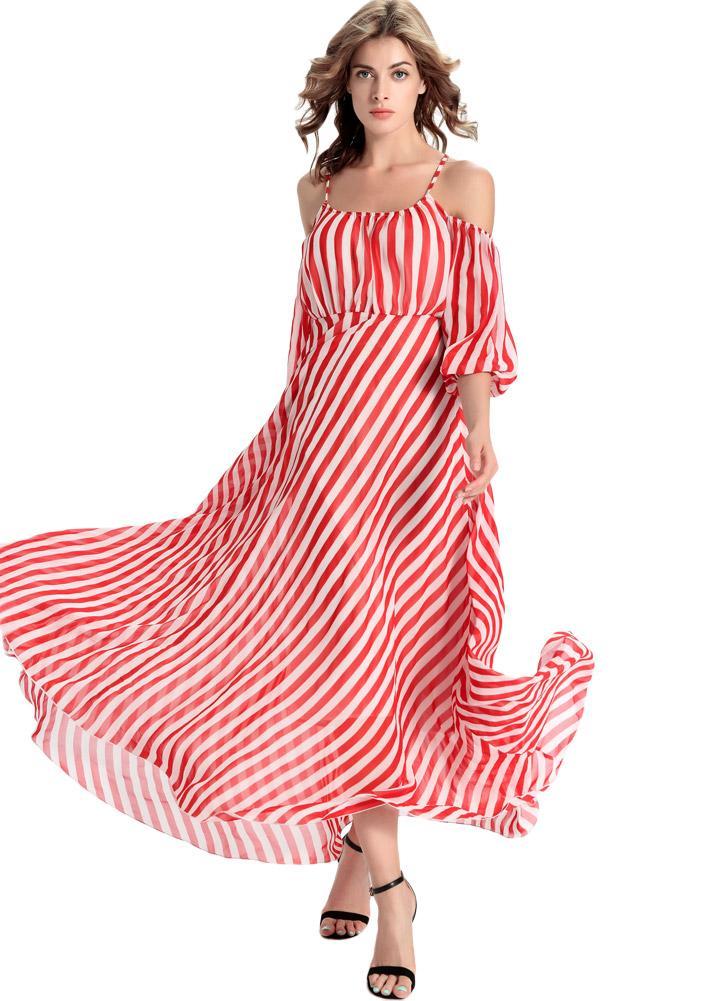 l rojo Nueva gasa de las mujeres del vestido maxi rayado vertical de ...