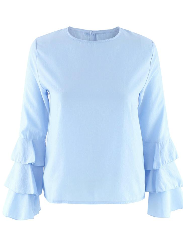Layered Flare Long Sleeve Keyhole Back Round Neck Blouse