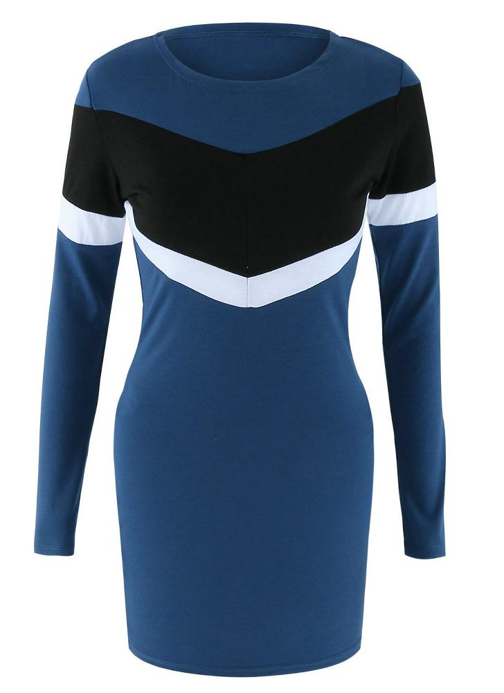 dunkelblau m Sexy Frauen-Minikleid Bodycon Kontrast Farbe Splice O ...