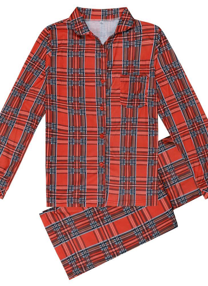 Family Dad Men Set de dos piezas de cuadros pijama ropa de dormir casa desgaste pantalones superiores