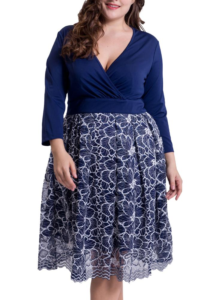 Dark Blue 2xl Sexy Women Plus Size Lace Dress Deep V Neck 34