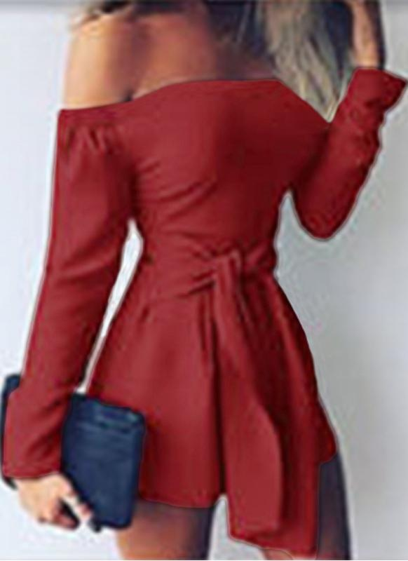 Sexy Off Shoulder Jumpsuit Long Sleeve Bandage Casual Slim Rompers