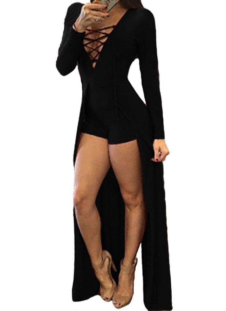 Sexy con cordones Jumpsuit Deep V Neck Skirt Bodycon Body Shorts Trajes Mono