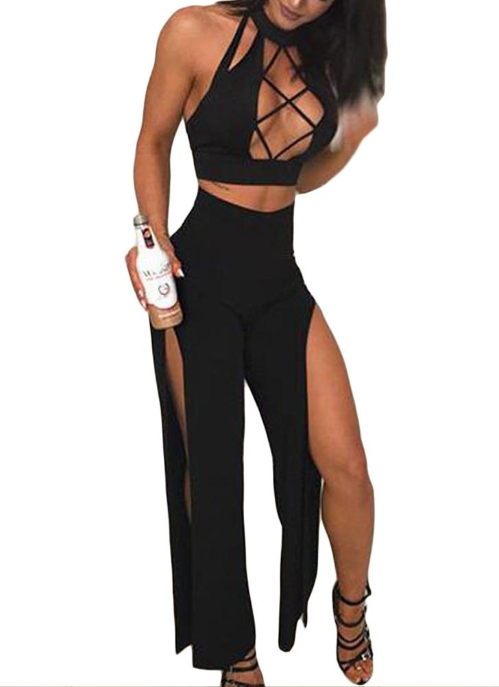 2 Piece Outfits Turtleneck Sleeveless Hollow out High Split Clubwear Romper Jumpsuit