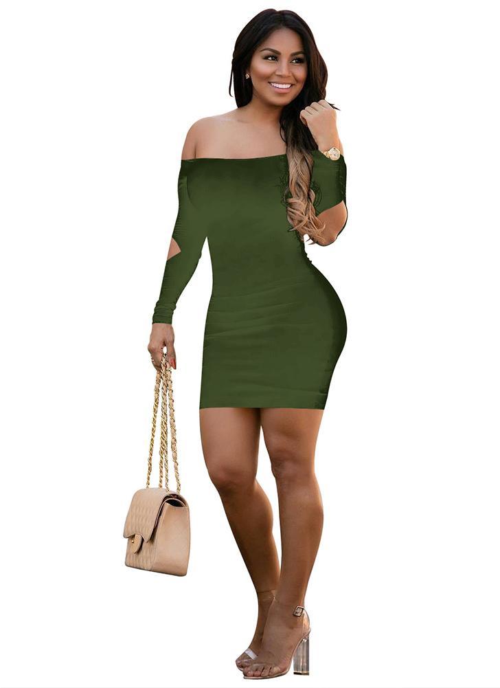 Spogliamo la spalla Backless tagliare il lungo manicotto Mini Bodycon Night  Clubwear 1f67997598a