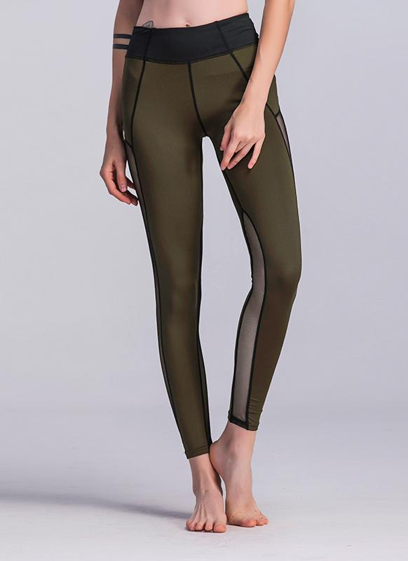 Sexy Women Sport Leggings Mesh Insert Splicing High Waist Skinny Casual Gym Yoga Pants
