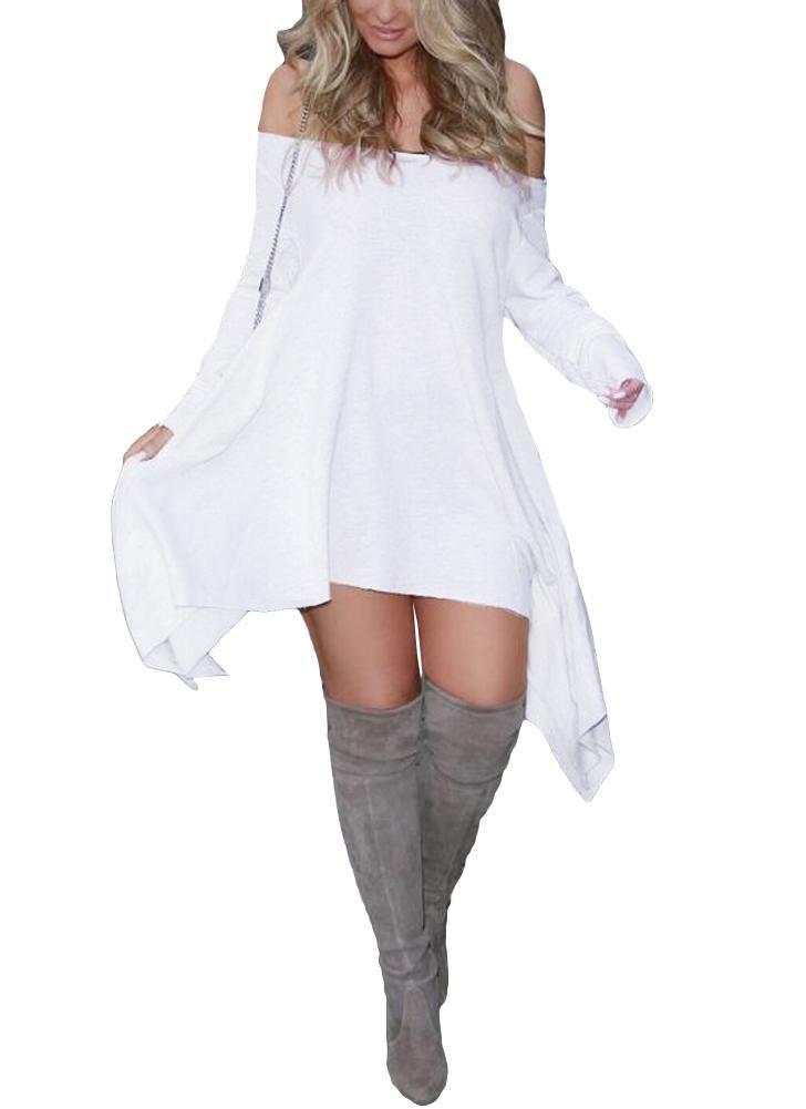 Épaule Mini Robe À Manches Longues Asymétrique Ourlet Irrégulière Robe Lâche