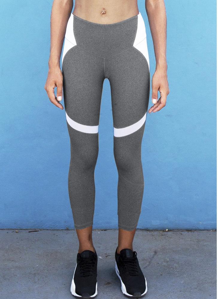 Сексуальные женщины тонкий спортивный йога поножи цветной блок повседневный фитнес тощий карандаш брюки брюки