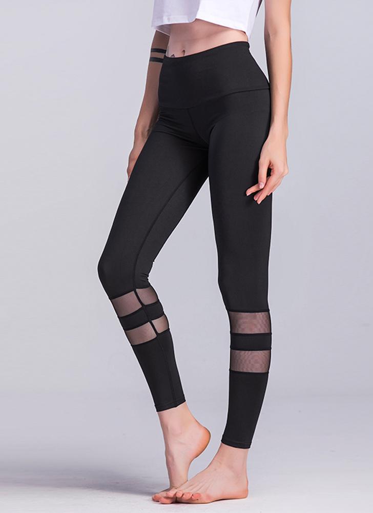 Frauen Fitness Yoga Hosen Sport Leggings Mesh Insert Strumpfhosen Workout Laufende Dünne Beiläufige Hose