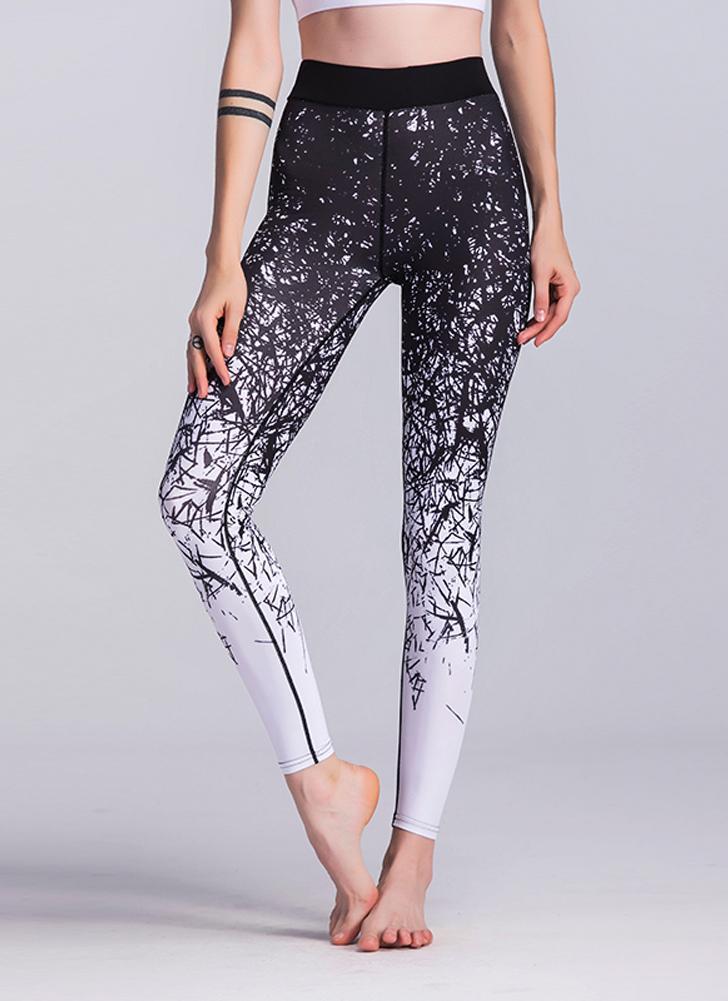 Frauen-Eignung-Yoga-Hosen-Sport-Gamaschen druckten Strumpfhosen-Training, die dünne zufällige Hosen laufen lassen