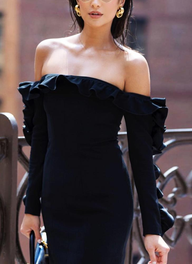 Sexy Women Slash Neck Off the Shoulder Ruffle Long Sleeve Bandage Bodycon Mini Dress