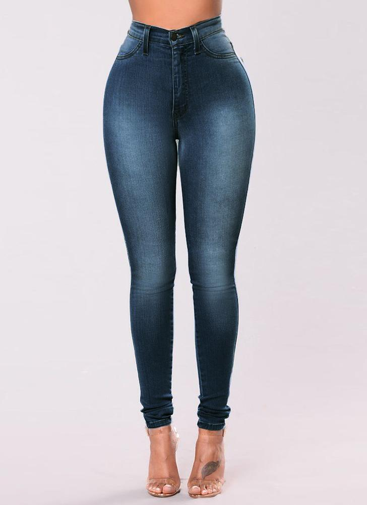 Sexy Women Skinny Denim Jeans Classic High Waist Washed Slim Pants Tights Pencil Trousers