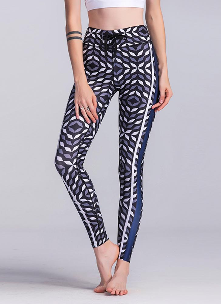 Las mujeres atractivas delgados Leggings Sport Yoga Imprimir Skinny Pencil Pants Trousers