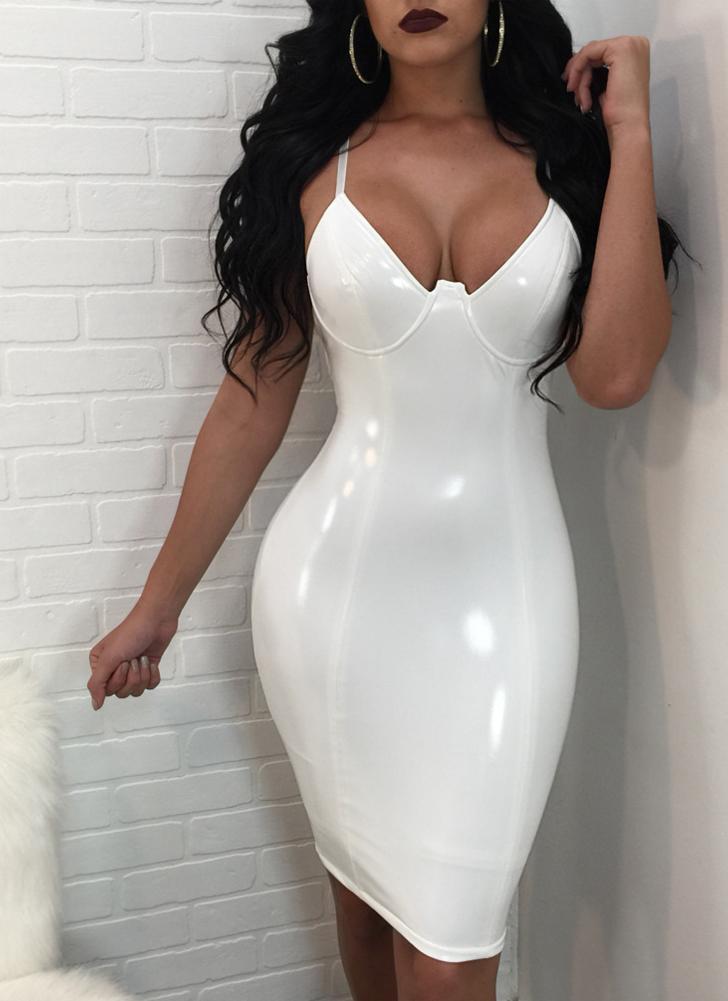 Женщины Deep V Neck Spaghetti Strap Dress Shiny Bodycon Slim Clubwear