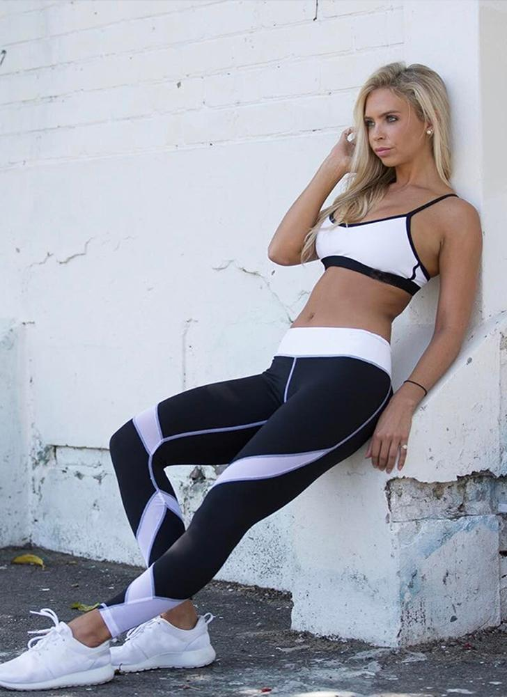 Women Yoga Leggings Sports Pants Mesh Insert Fitness Trousers