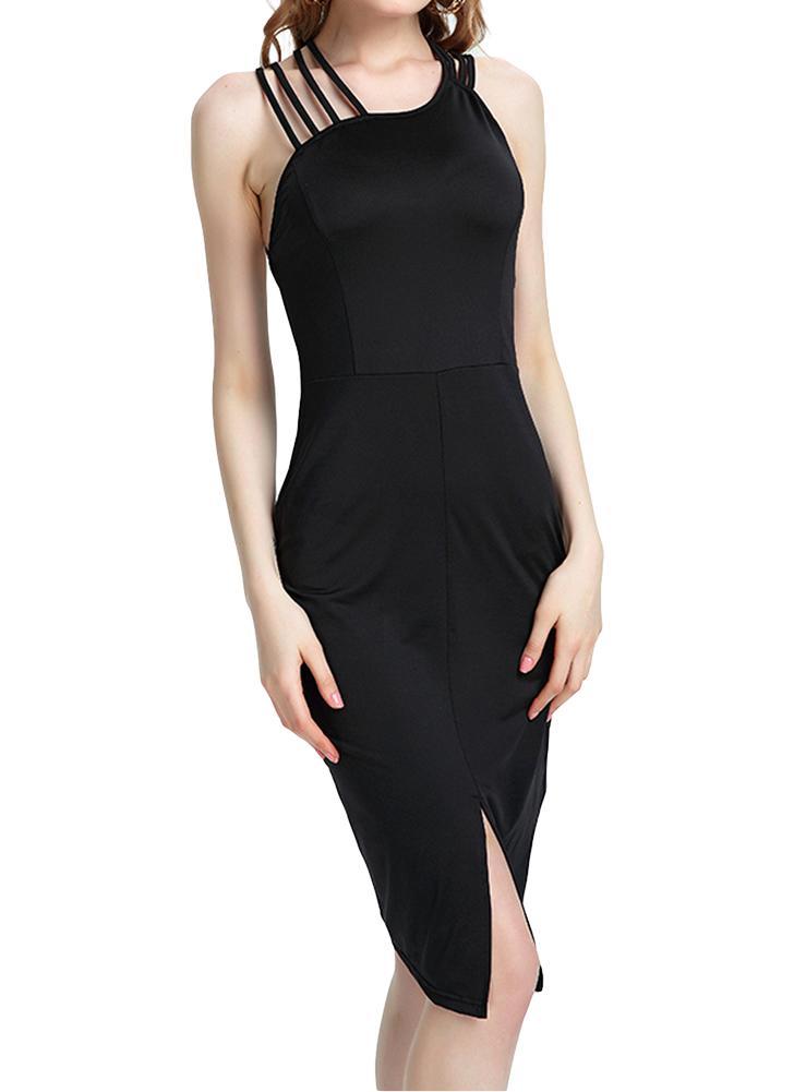 Новые сексуальные женщины крест назад без рукавов O шеи Bodycon Midi платье