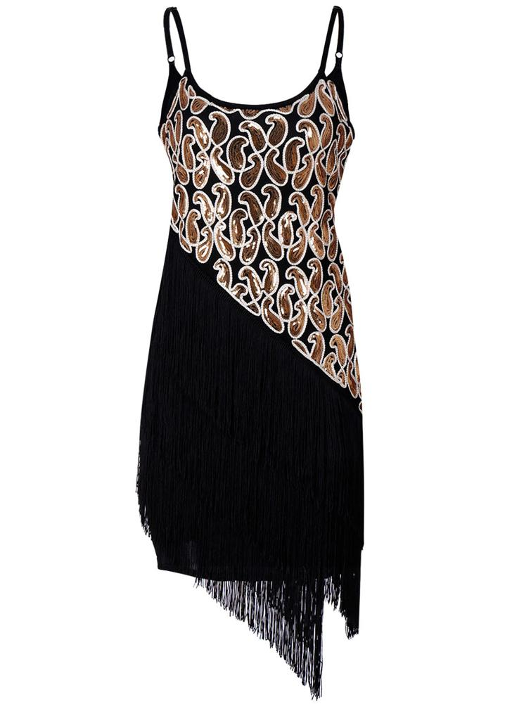 Fashion Women Sequin Fringe Party Flapper sem mangas Tassel Hem Retro Dress