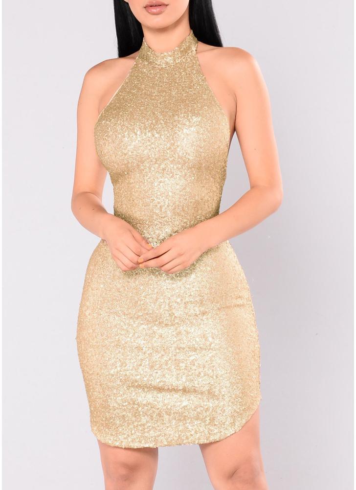 61a8623a30c7 Sexy Women Sequin Sleeveless Halter Bling Glitter Slim Party Mini Dress