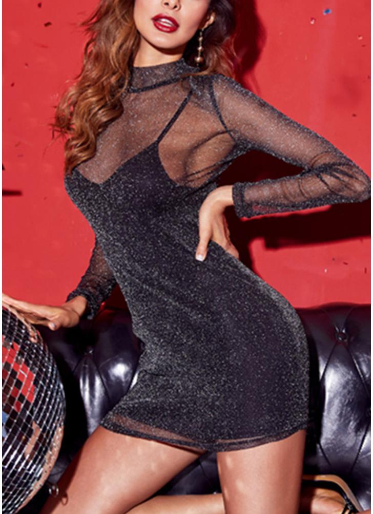 Women Metallic Mesh Mini Dress Spaghetti Strap High Neck Transparent Dress