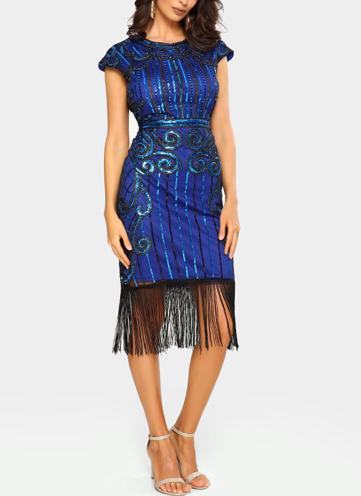 blau s Frauen Party Kleid Pailletten Tassel Fringe 1920er Jahre ...