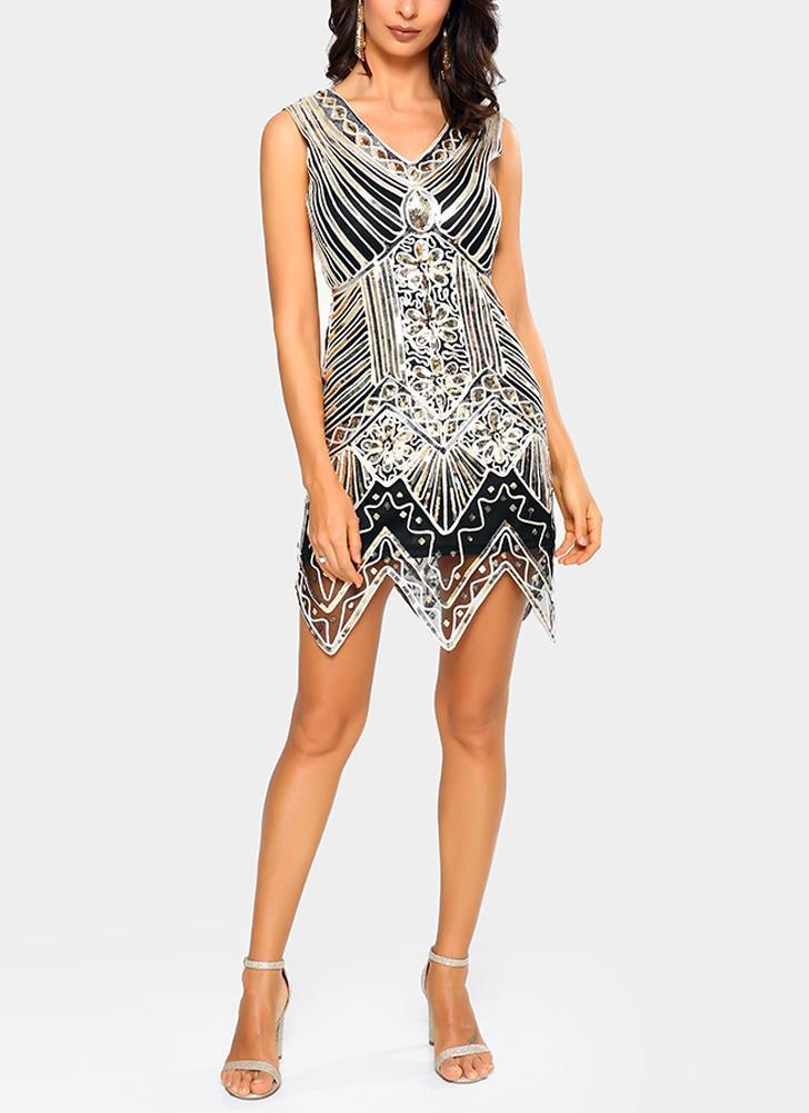 Weinlese-Frauen-funkelndes Pailletten-Kleid tief V-Ansatz Sleeveless dünne  Nachtwäsche-