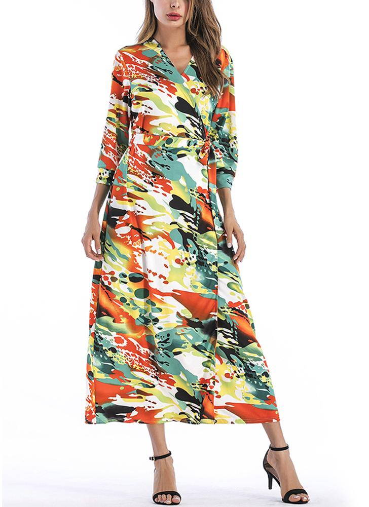 Bohème Floral Print V Neck Half Sleeve Bohème Maxi Dress