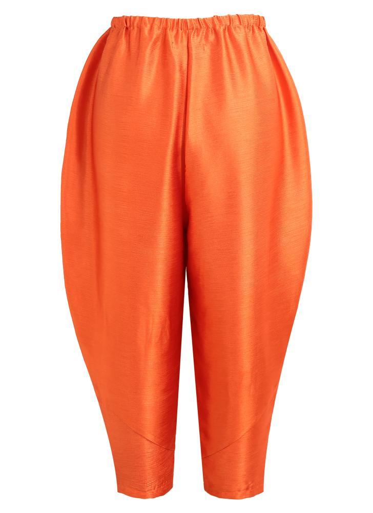 Moda Mulheres Frango Frito Loose Oversize Pants Orange