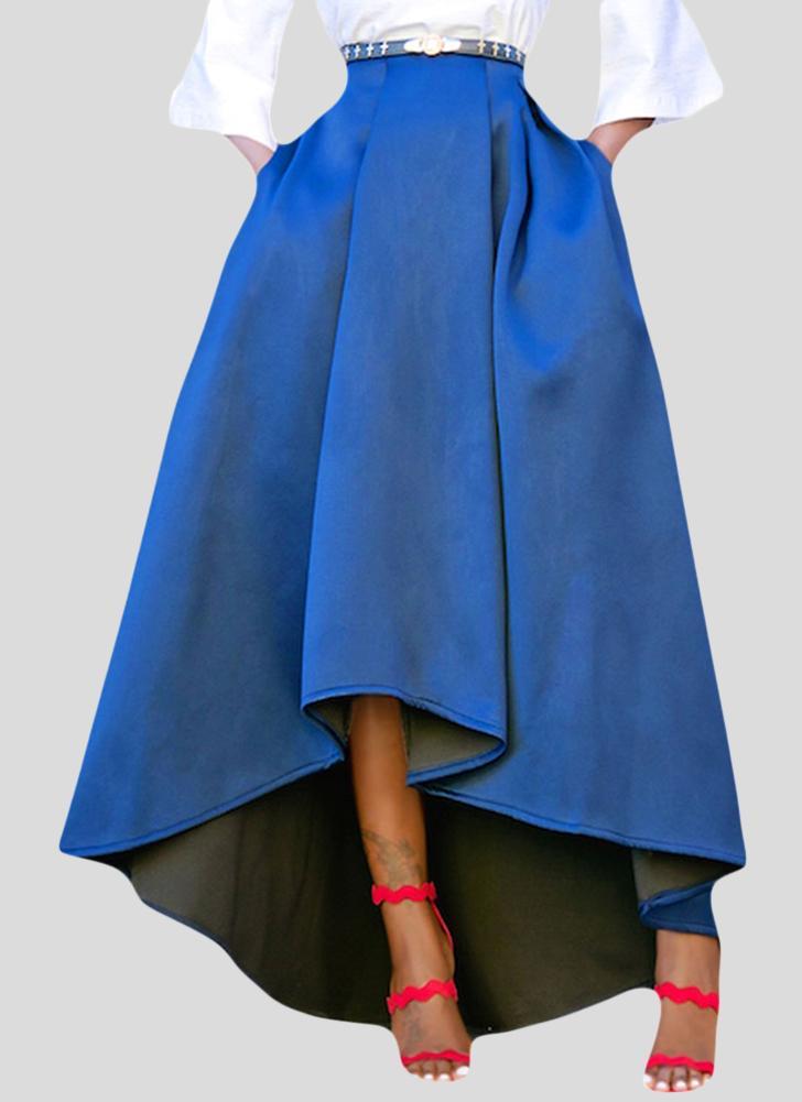 Falda midi plisada alta baja de la cintura alta de las mujeres de la moda