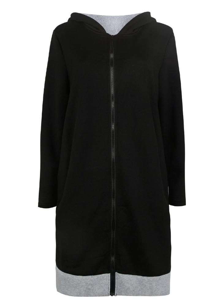 Sudaderas con capucha larga Contraste bolsillos ocasionales cremallera Outerwear Hoodies Jacket