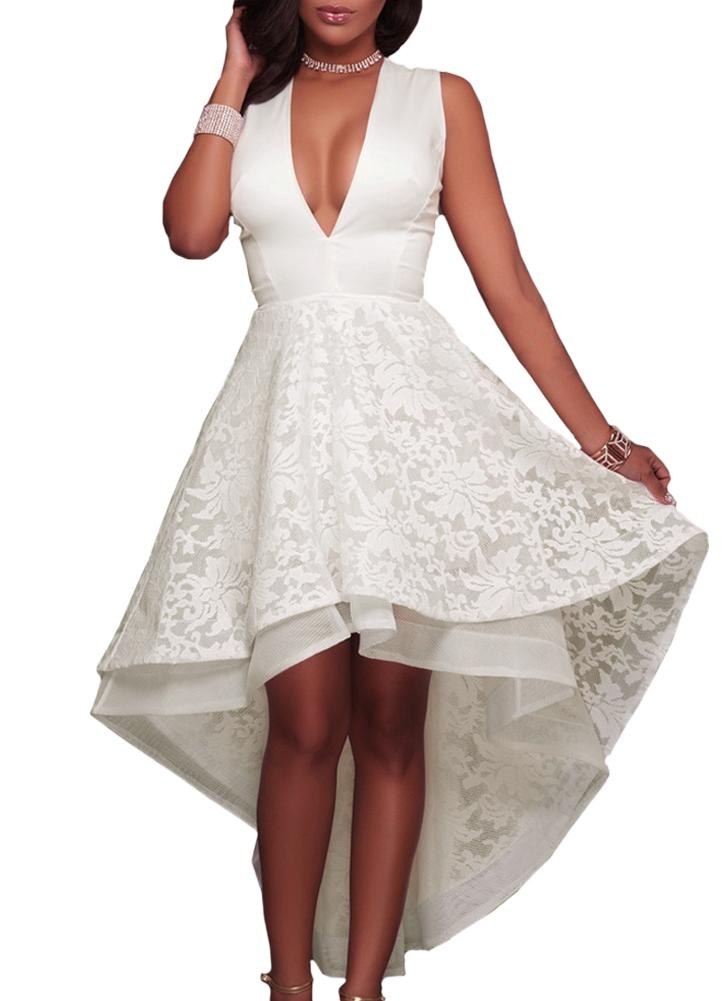 High Low Hem Evening Dress Embroidered Lace Cocktail Party Prom Gowns Dress