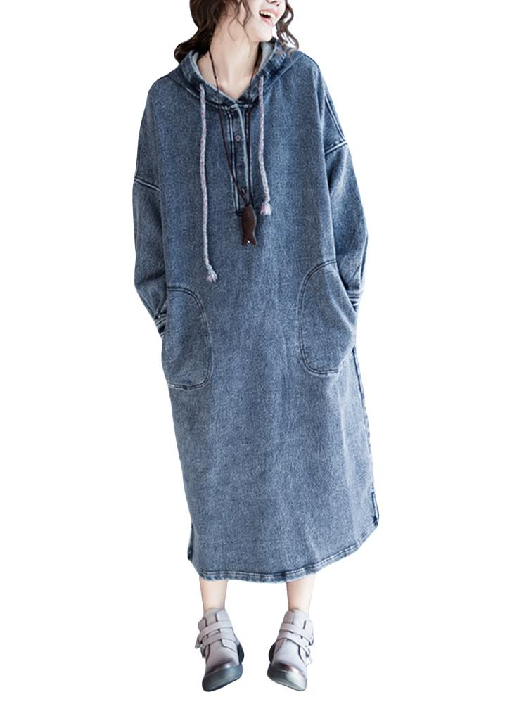 Loose Denim Dress Drawstring Hood Casual Jeans Dress Vestidos Plus ...