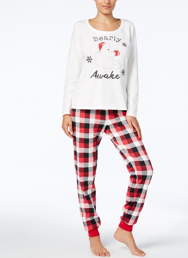 Pijama de manga larga para mujer con cuello redondo y pijama de Navidad