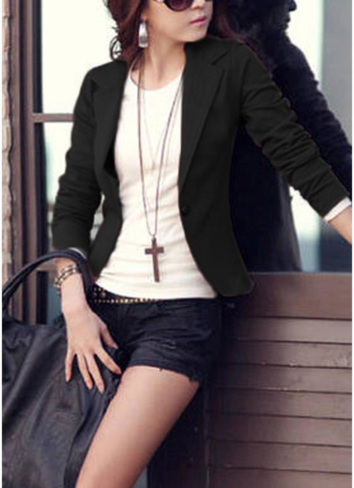 Women One Button Business Blazer Suit Long Sleeves Office Casual Leisure Coat Jacket Ladies Short Outwear