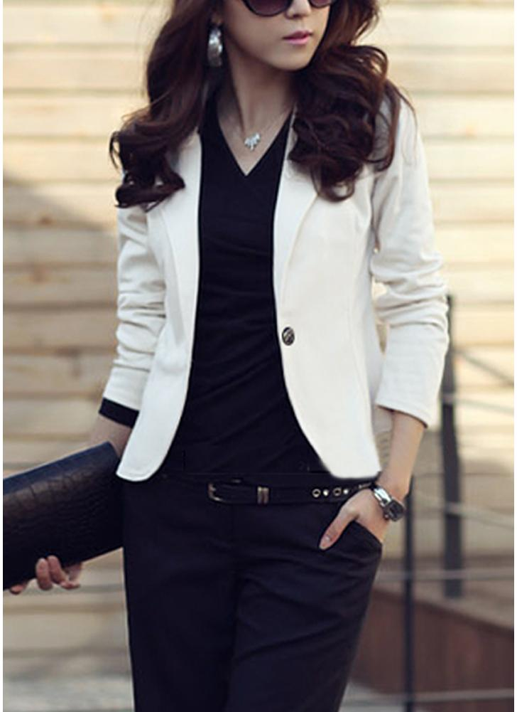 Frauen One Button Business Blazer Anzug Lange Ärmel Büro Casual Freizeit Mantel Jacke Damen Kurze Outwear
