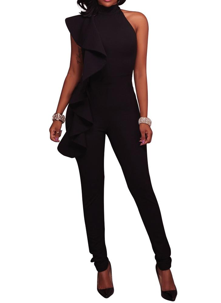 Fashion Women Side Ruffle Cold Shoulder Jumpsuit