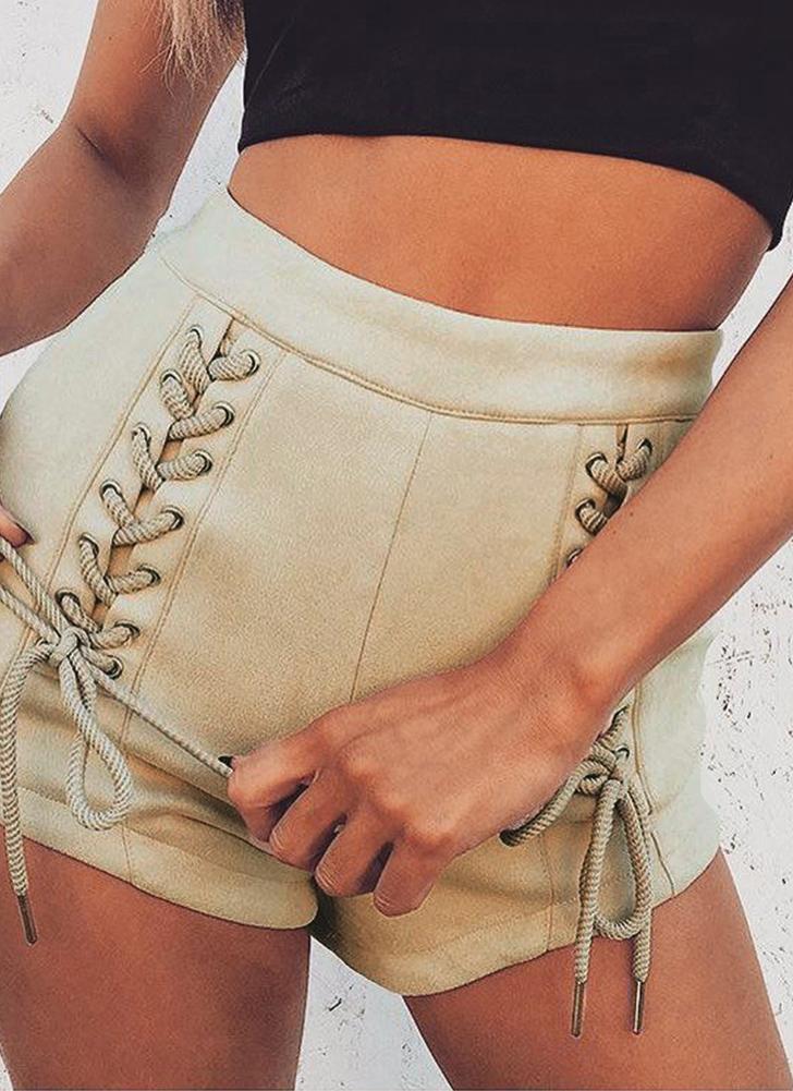 Nuevas mujeres atractivas Faux Suede Lace-Up vendaje pantalones cortos de cintura alta