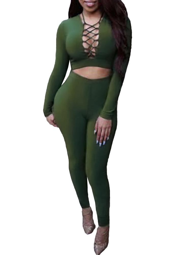 Mulheres sexy de duas peças Set Crop Top