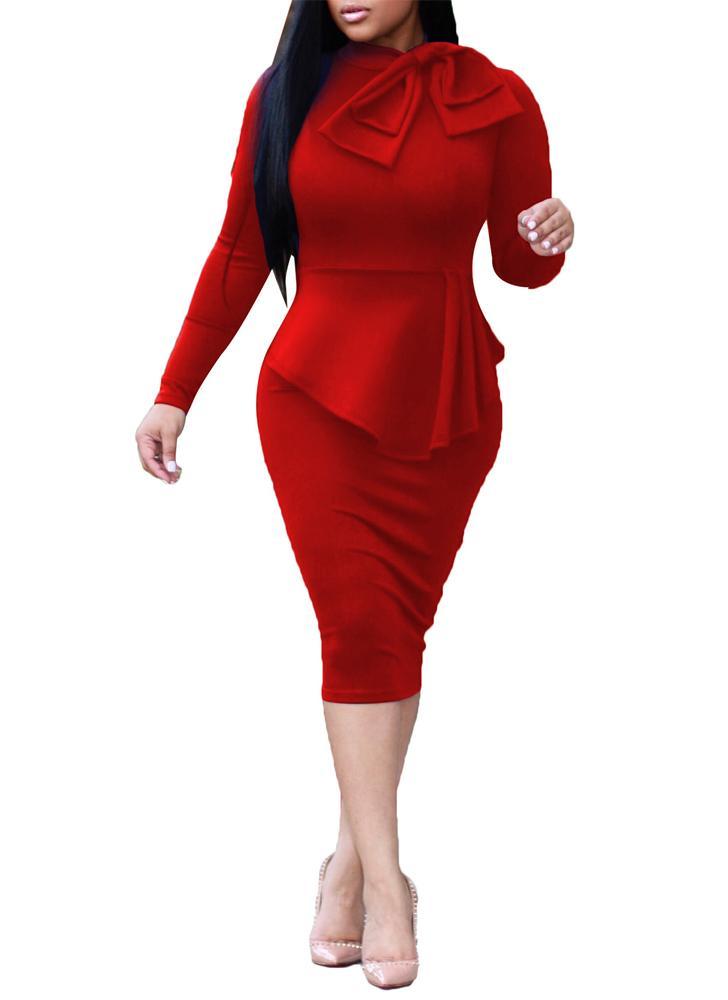 rot xl Elegantes Damen Midi-figurbetontes Kleid - Chicuu