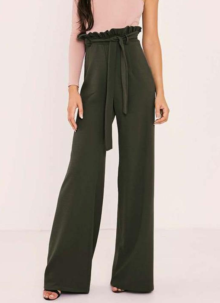 Women High Waist Pants Belt Ruffle Zip Solid Color Wide Leg Trousers