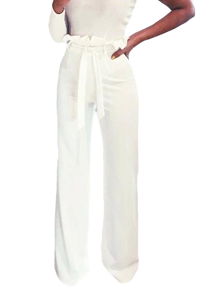 f210e93cd0c9 Femmes taille haute pantalons ceinture Ruffle Zip couleur unie Pantalon  large