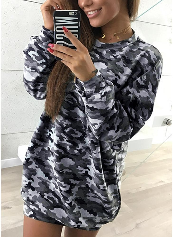 Mulheres Camo Hoodie Pullovers Casual Long Sleeves Sweatershirt