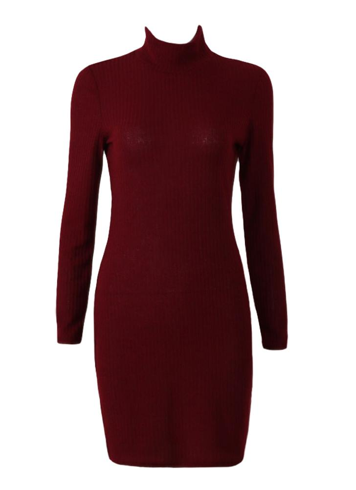 Mulheres Vestido de malha Mini Sweater Vestido de gola pescoço Long Sleeve Solid Bodycon Casual Party Pullover Pencil Dress